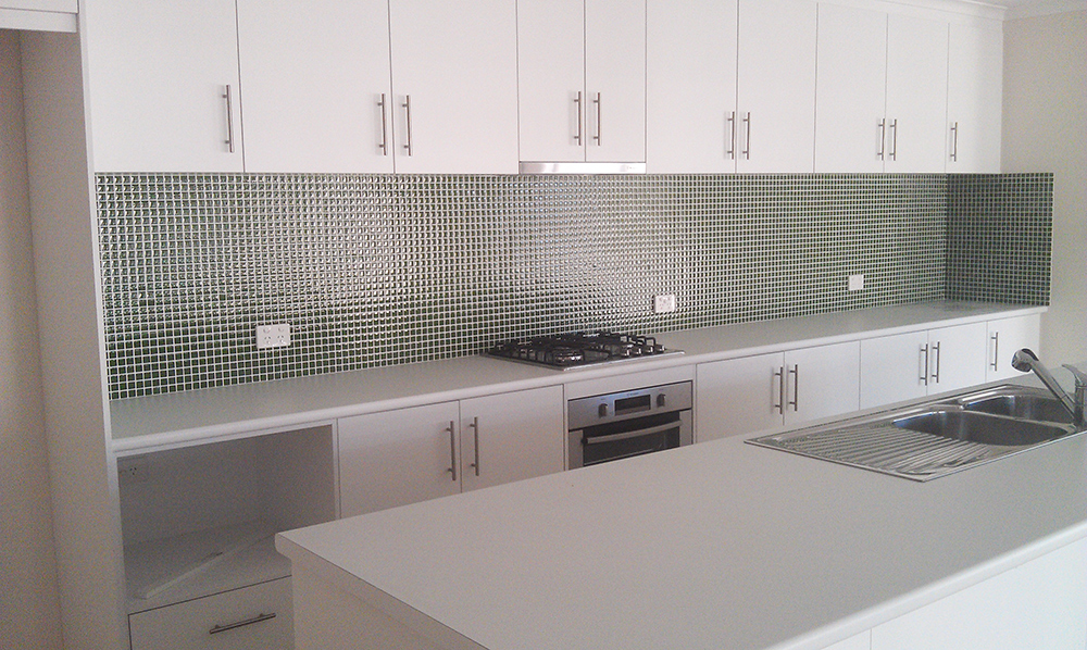 mosaic tiled splashback kitchen